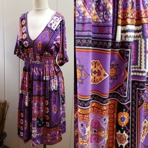 ICE | 4 purple print 3/4 sleeve cinch waist dress
